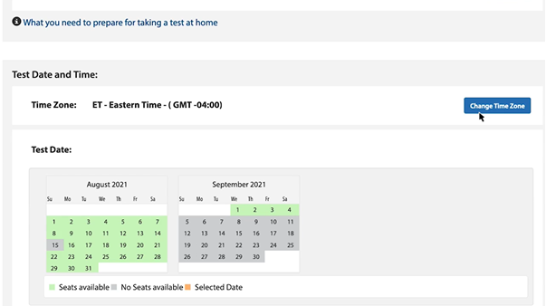 Selecting a test date and time3