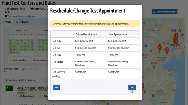 Selecting a test date, location and time3
